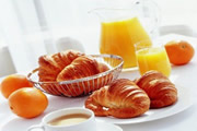 Croissants & Pain au Chocolat, Bread Rolls, Sliced Ham & Cheese, Choice of Fresh Juice. Prices Start from £3.95 per head