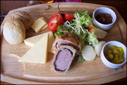Cheese wedges, Pickled Onions, Pork Pie, Mixed Salad, Boiled Egg, Branston Pickle & Bread Rolls. Prices start from £5.95